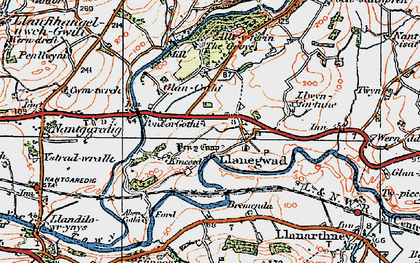 Old map of Afon Cothi in 1923
