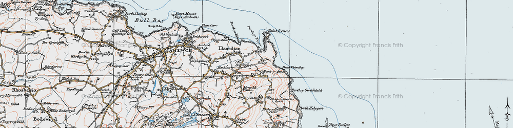 Old map of Llaneilian in 1922