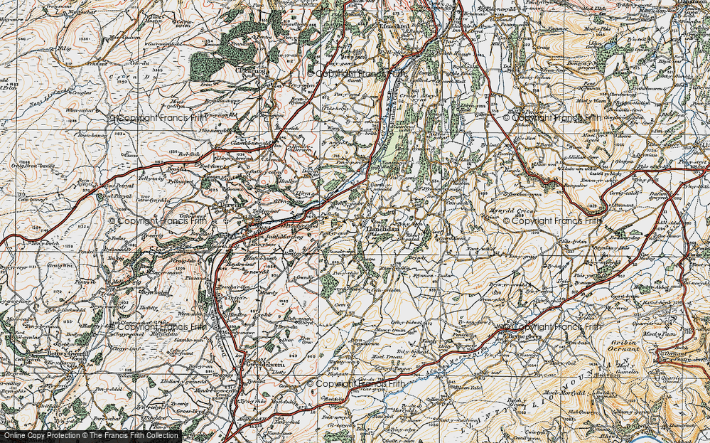 Old Map of Historic Map covering Afon y Maes in 1921