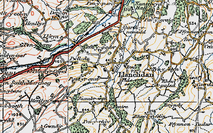 Old map of Llanelidan in 1921