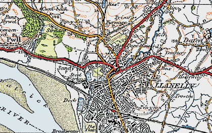 Old map of Llanelli in 1923