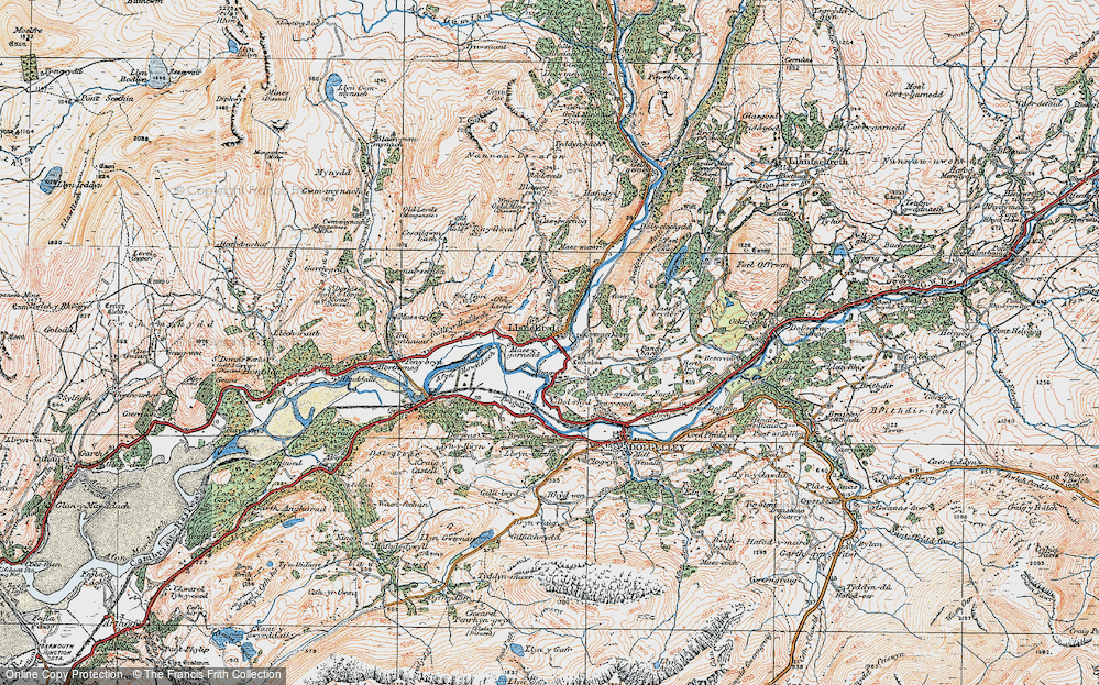 Old Map of Historic Map covering Afon Wnin in 1921