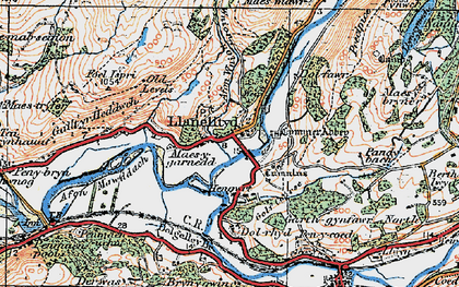 Old map of Afon Wnin in 1921