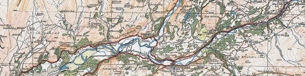 Old map of Afon Wnin in 1921