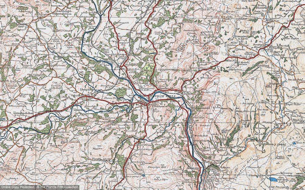 Old Map of Llanelwedd, 1923 in 1923