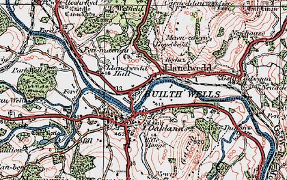 Old map of Llanelwedd in 1923