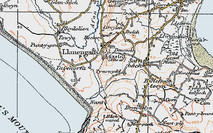 Old map of Bachwared in 1922