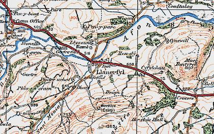 Old map of Llanerfyl in 1921