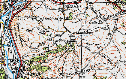 Old map of Llanfabon in 1919