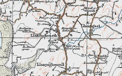 Old map of Llanfachraeth in 1922