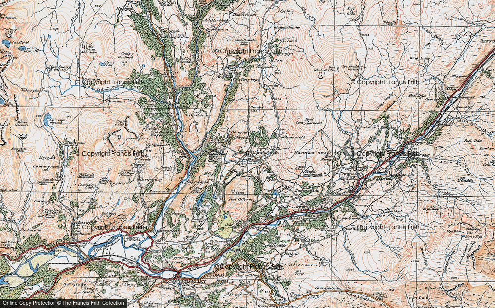 Old Map of Historic Map covering Afon Babi in 1921
