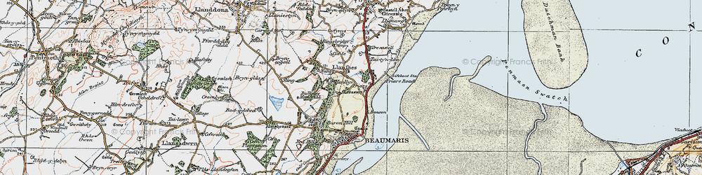 Old map of Llanfaes in 1922