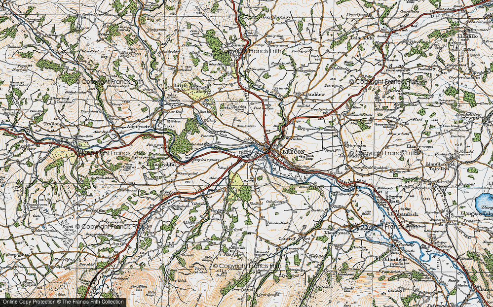 Old Map of Historic Map covering Abergwdi in 1923