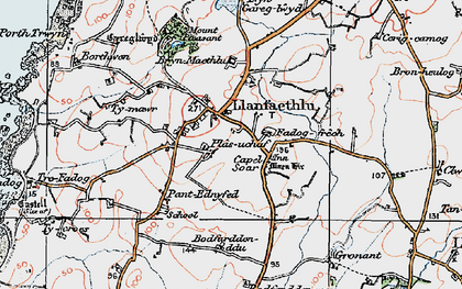 Old map of Llanfaethlu in 1922