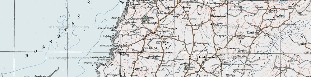 Old map of Llanfaethlu in 1922