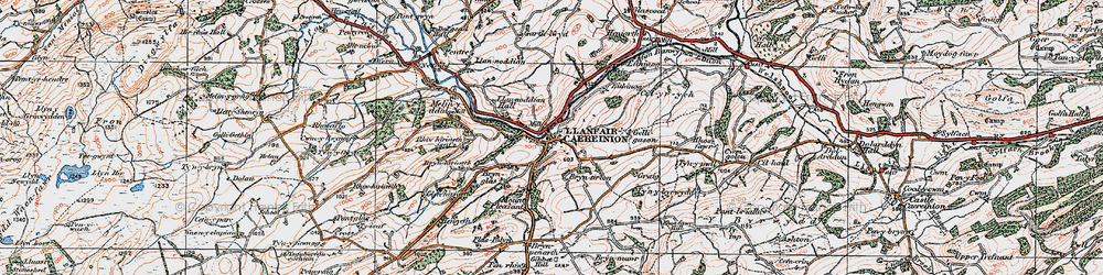 Old map of Llanfair Caereinion in 1921