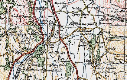 Old map of Llanfair Dyffryn Clwyd in 1924