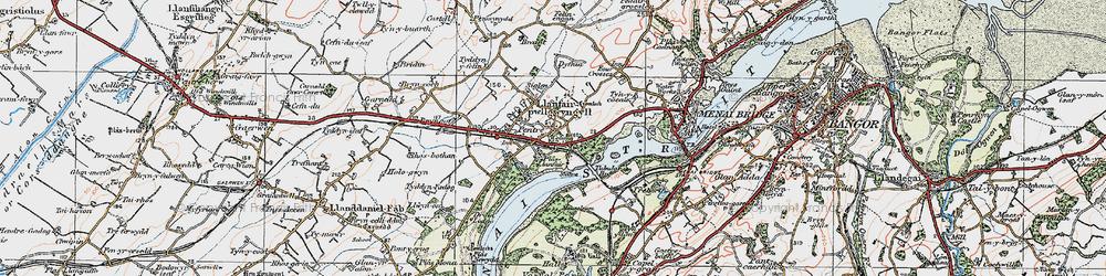 Old map of Llanfair Pwllgwyngyll in 1922