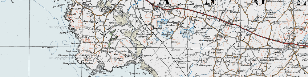 Old map of Ynys-las in 1922