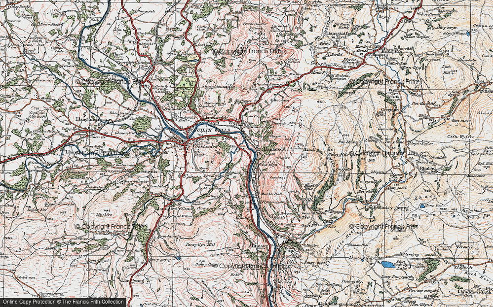 Old Map of Historic Map covering Aberedw Hill in 1923