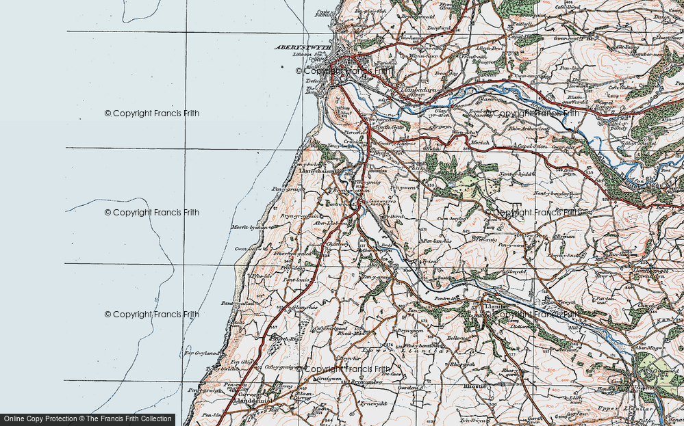Old Map of Historic Map covering Aberllolwyn in 1922