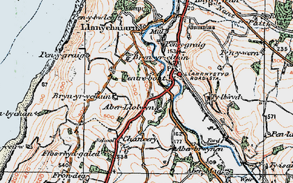 Old map of Aberllolwyn in 1922