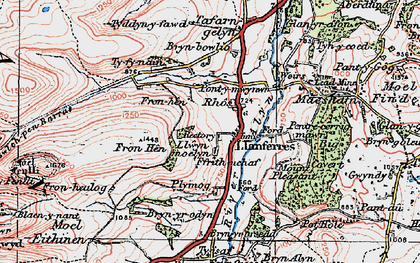 Old map of Llanferres in 1924
