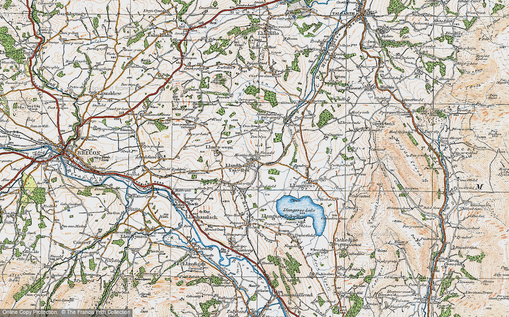 Old Map of Historic Map covering Afon Llynfi in 1919