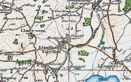 Old map of Afon Llynfi in 1919