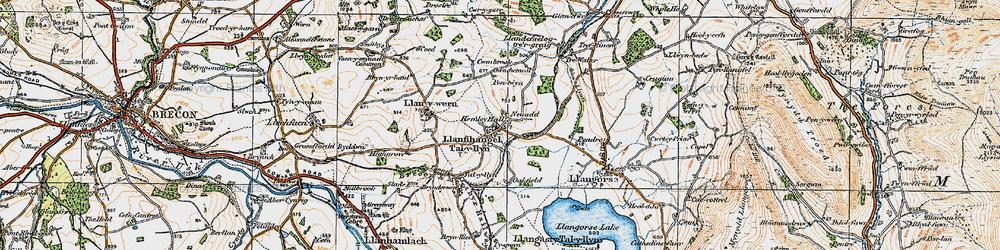 Old map of Afon Llynfi in 1919