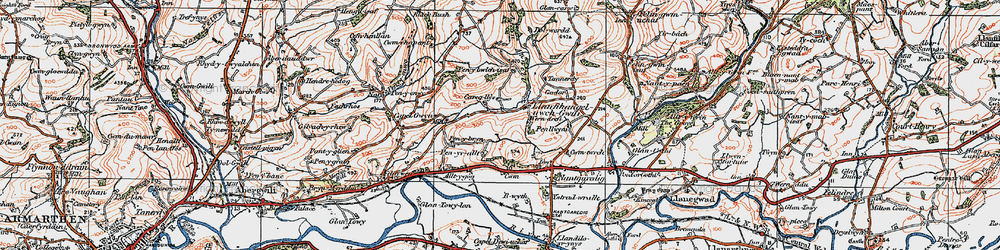 Old map of Afon Annell in 1923