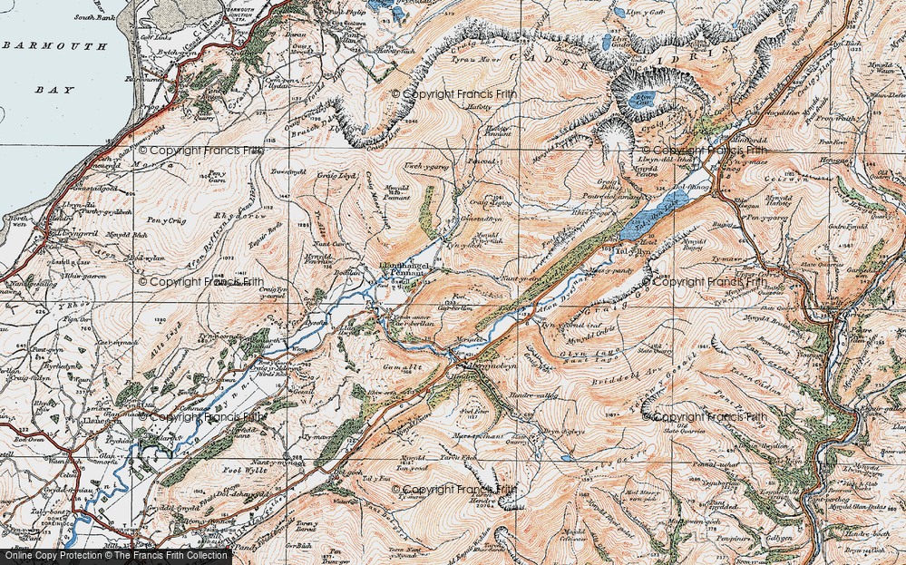 Old Map of Historic Map covering Afon Cadair in 1922