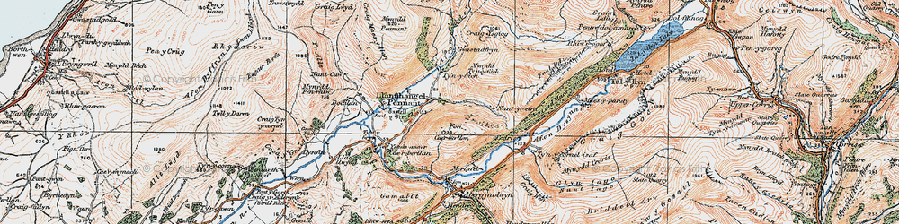 Old map of Llanfihangel-y-pennant in 1922