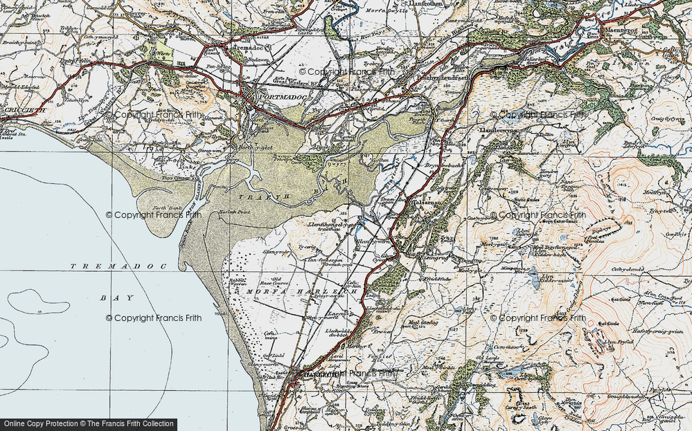 Old Map of Historic Map covering Afon y Glyn in 1922