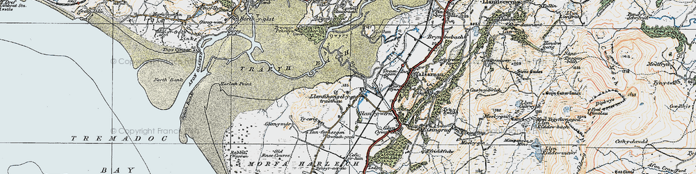 Old map of Afon y Glyn in 1922