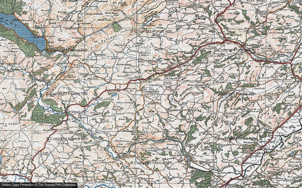 Old Map of Historic Map covering Adwywynt in 1921
