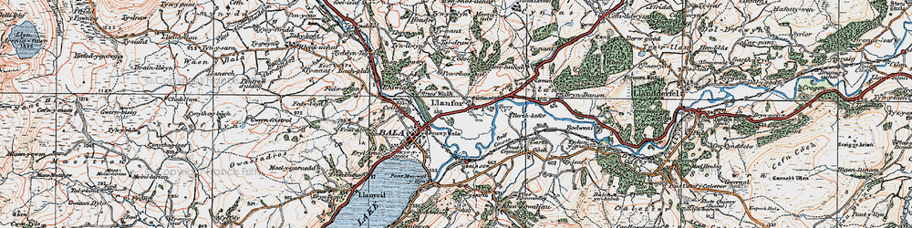 Old map of Llanfor in 1922