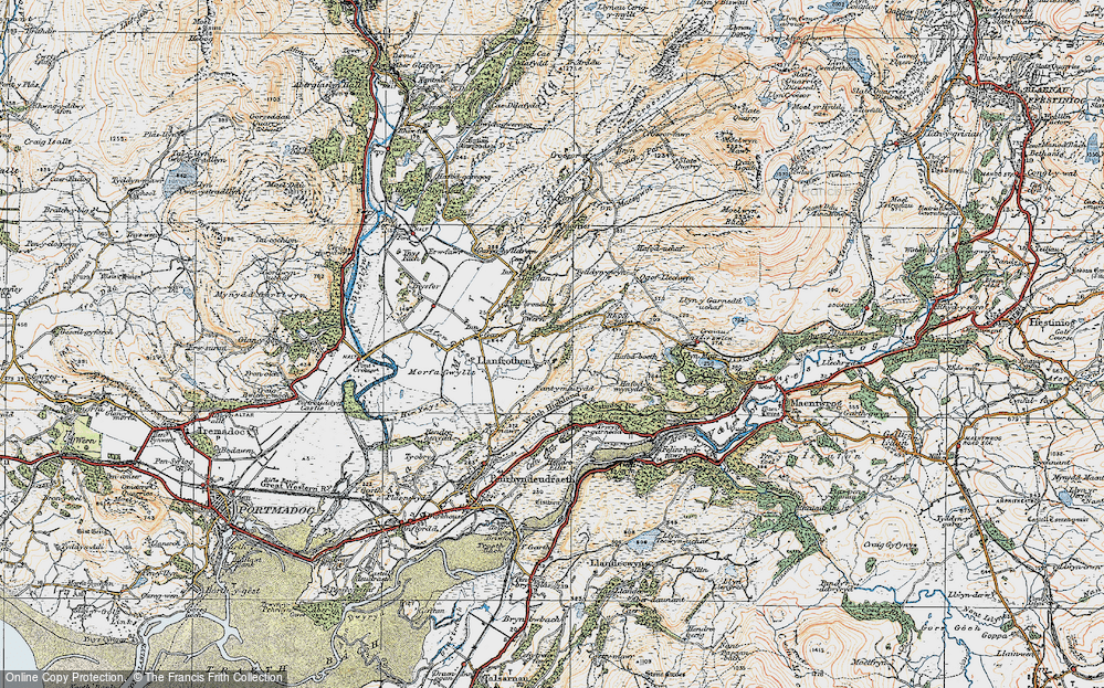 Old Map of Llanfrothen, 1922 in 1922