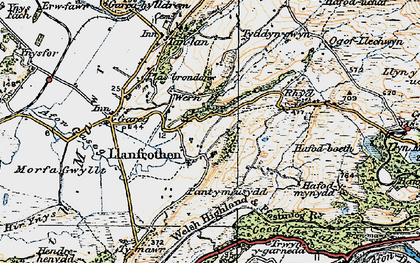 Old map of Llanfrothen in 1922