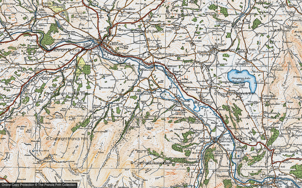 Old Map of Historic Map covering Afon Cynrig in 1923