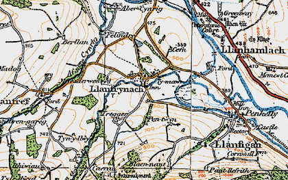 Old map of Afon Cynrig in 1923