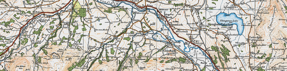 Old map of Abercynrig Mill in 1923