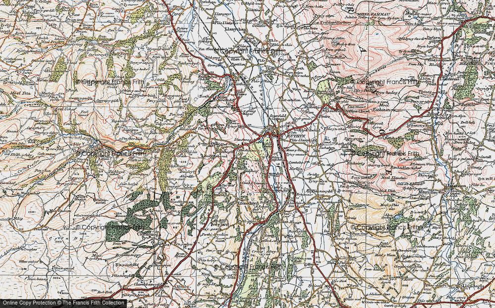 Old Map of Llanfwrog, 1924 in 1924