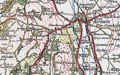 Old map of Llanfwrog in 1924