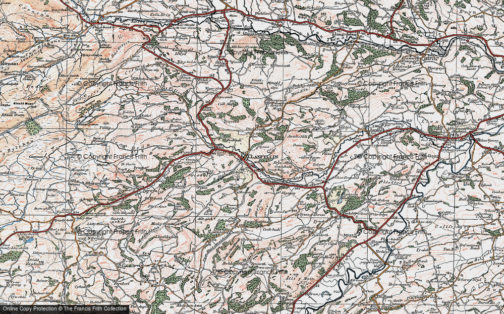 Old Map of Historic Map covering Bachie Ganol in 1921