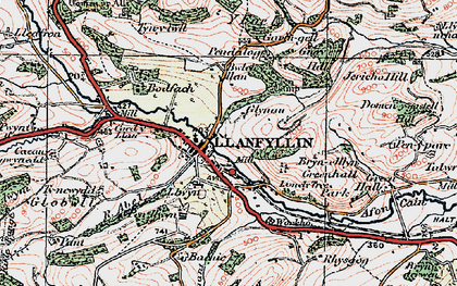 Old map of Llanfyllin in 1921