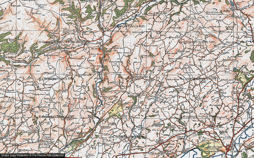 Old Map of Historic Map covering Afon Sannan in 1923
