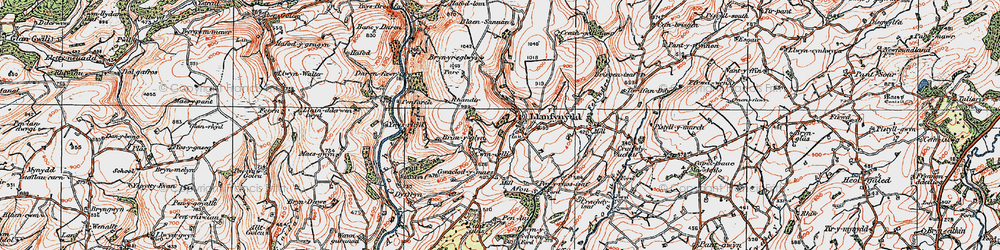 Old map of Afon Sannan in 1923