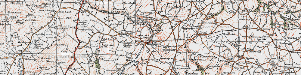 Old map of Afon Asen in 1922