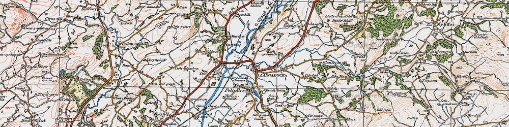Old map of Llangadog in 1923